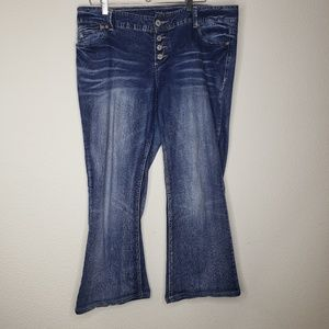 Maurices Faded Button Fly Flare Jeans